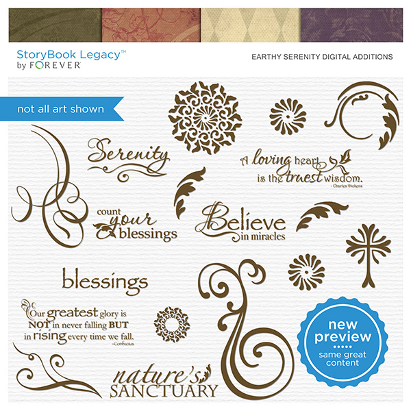 Earthy Serenity Digital Additions Digital Art - Digital Scrapbooking Kits