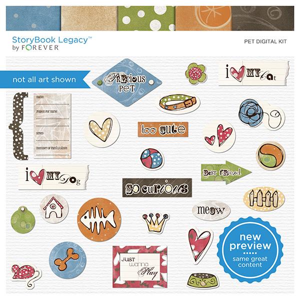 Pet Digital Kit Digital Art - Digital Scrapbooking Kits