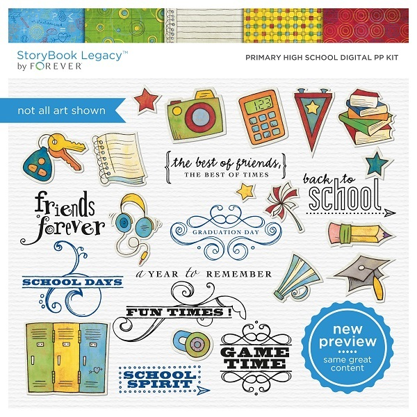 Primary High School Digital Pp Kit Digital Art - Digital Scrapbooking Kits