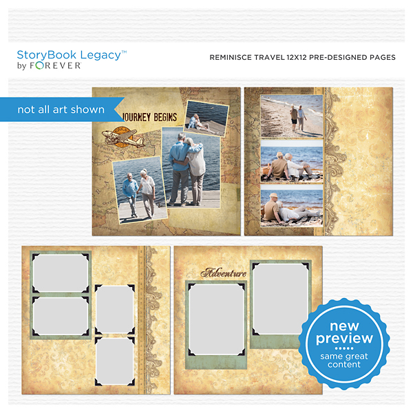 Reminisce Travel 12x12 Predesigned Pages