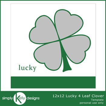12x12 lucky 4 leaf clover template digital art