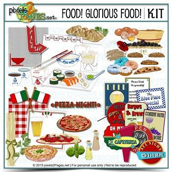 Food! Glorious Food! Digital Art - Digital Scrapbooking Kits