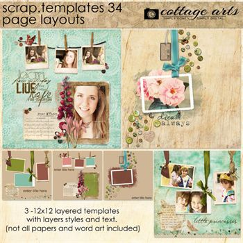 12 X 12 Scrap Templates 34 - Page Layouts