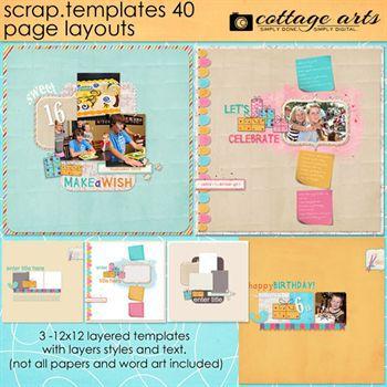 12 X 12 Scrap Templates 40 - Page Layouts Digital Art - Digital Scrapbooking Kits