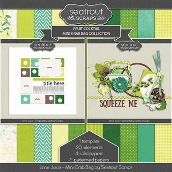 Fruit Cocktail - Lime Juice Mini Grab Bag Digital Art - Digital Scrapbooking Kits