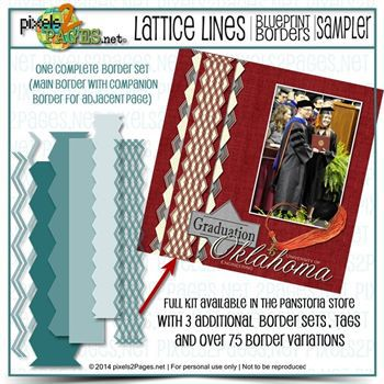 12x12 Blueprint Borders Lattice Lines Sampler Kit