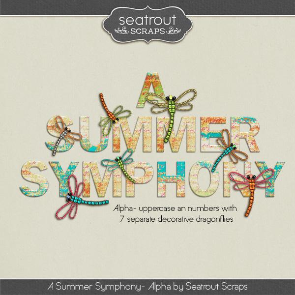 A Summer Symphony Alpha Digital Art - Digital Scrapbooking Kits