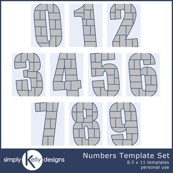0 - 9 Numbers 8.5 X 11 Templates