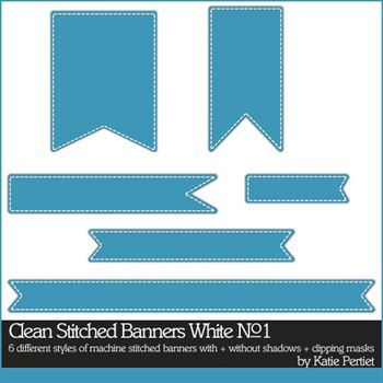 Clean Stitched Banners White No. 01