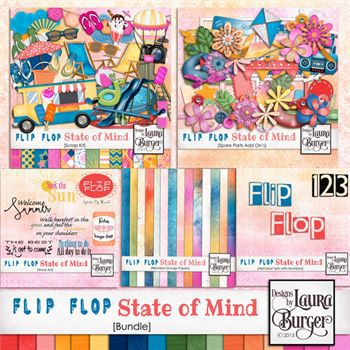 Flip Flop State Of Mind Bundle Digital Art - Digital Scrapbooking Kits