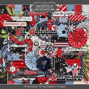 Americana Kit Digital Art - Digital Scrapbooking Kits