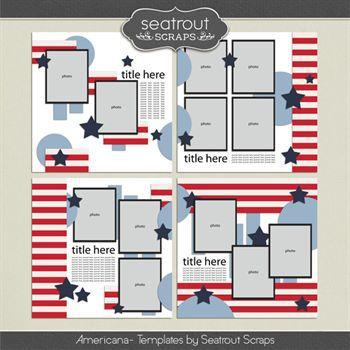 Americana Templates Digital Art - Digital Scrapbooking Kits