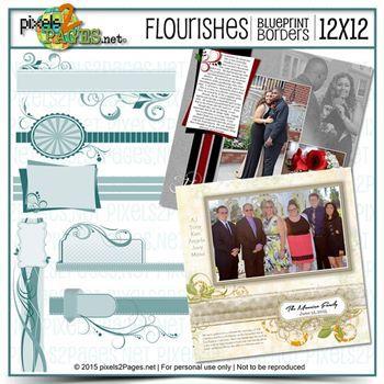 12x12 Blueprint Borders: Flourishes Digital Art - Digital Scrapbooking Kits