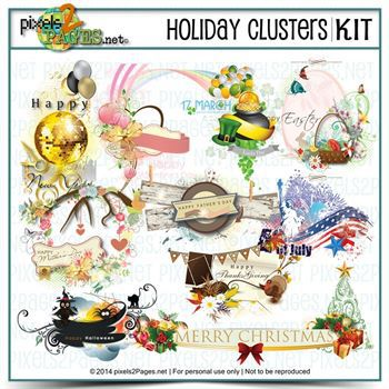Holiday Clusters Digital Art - Digital Scrapbooking Kits