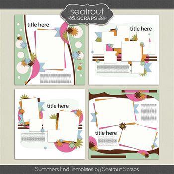 Summer's End Templates Digital Art - Digital Scrapbooking Kits