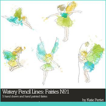 Watery Pencil Lines Fairies No. 01