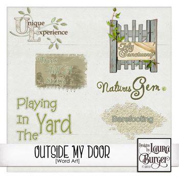 Outside My Door Word Art Digital Art - Digital Scrapbooking Kits