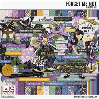 Forget Me Not Digital Art - Digital Scrapbooking Kits