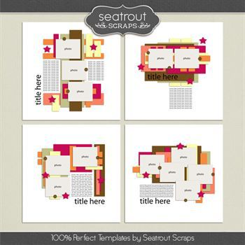 100% Perfect Templates Digital Art - Digital Scrapbooking Kits