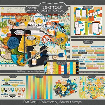 Diet Diary Bundle Digital Art - Digital Scrapbooking Kits