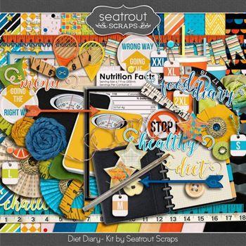 Diet Diary Kit Digital Art - Digital Scrapbooking Kits