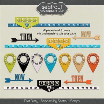 Diet Diary Snippets Digital Art - Digital Scrapbooking Kits