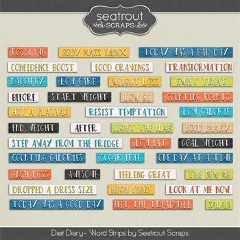 Diet Diary Word Strips Digital Art - Digital Scrapbooking Kits