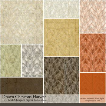 Drawn Chevrons Harvest Paper Pack