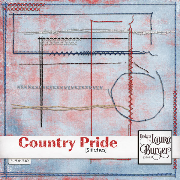 Country Pride Stitches Digital Art - Digital Scrapbooking Kits