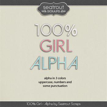 100% Girl Alphas Digital Art - Digital Scrapbooking Kits