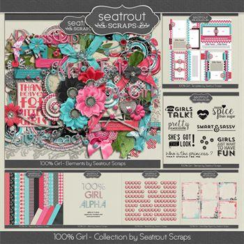 100% Girl Bundle Digital Art - Digital Scrapbooking Kits