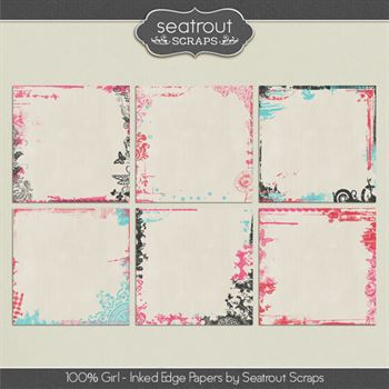 100% Girl Inked Edge Papers Digital Art - Digital Scrapbooking Kits