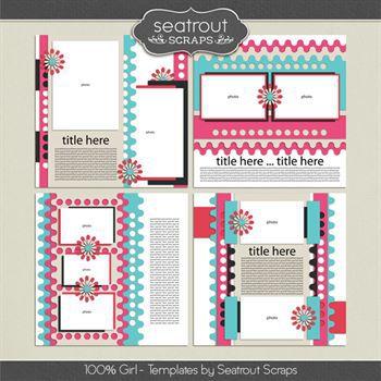 100% Girl Templates Digital Art - Digital Scrapbooking Kits