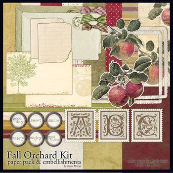 Fall Orchard Kit Digital Art - Digital Scrapbooking Kits