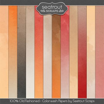 100% Old Fashioned Colorwash Papers Digital Art - Digital Scrapbooking Kits