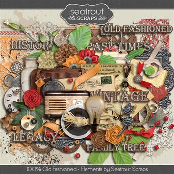 100% Old Fashioned Embellishments Digital Art - Digital Scrapbooking Kits