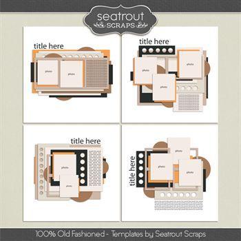 100% Old Fashioned Templates Digital Art - Digital Scrapbooking Kits