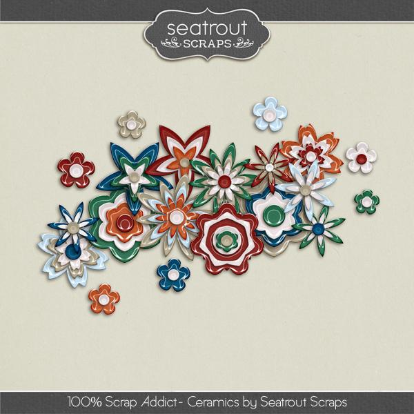 100% Scrap Addict Ceramics Digital Art - Digital Scrapbooking Kits