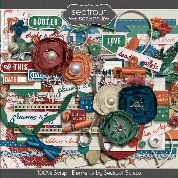 100% Scrap Addict Embellishments Digital Art - Digital Scrapbooking Kits