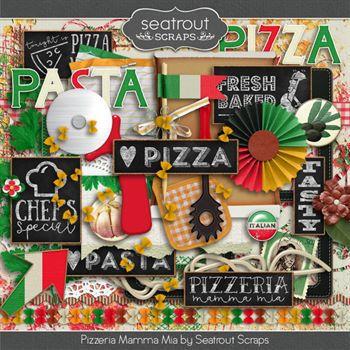 Pizzeria Mamma Mia Mini Bundle Digital Art - Digital Scrapbooking Kits