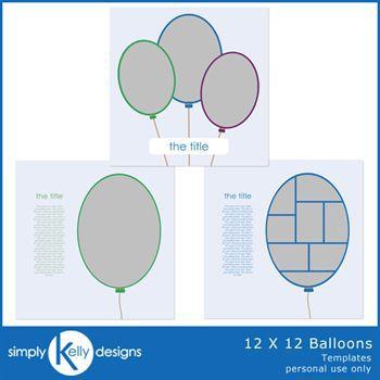 12 X 12 Balloons Templates
