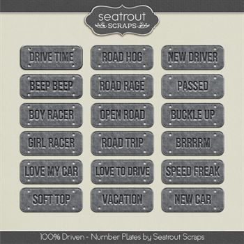 Driven Number Plates Digital Art - Digital Scrapbooking Kits