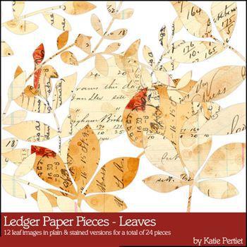 Ledger Paper Pieces Leaves