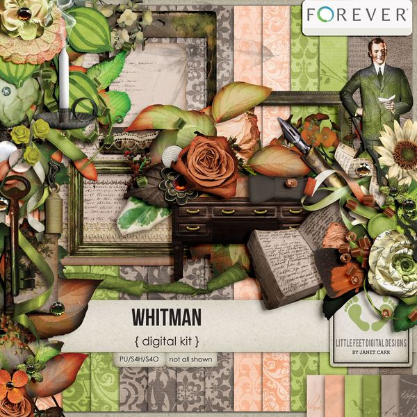 Whitman Digital Kit Digital Art - Digital Scrapbooking Kits