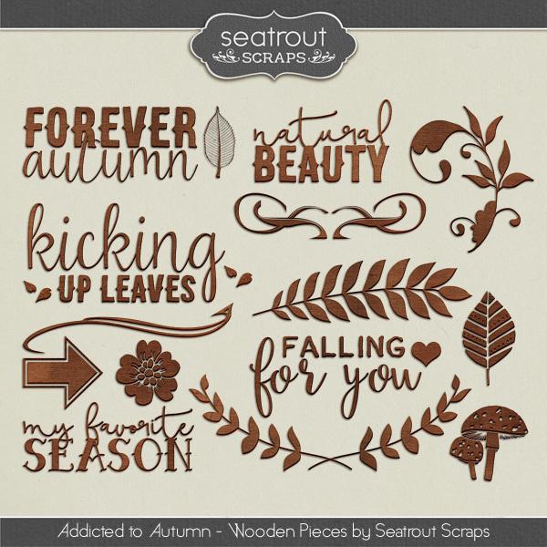 Autumn Addiction Wooden Pieces Digital Art - Digital Scrapbooking Kits