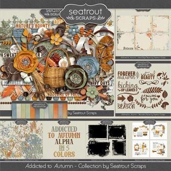 Autumn Addiction Bundle Digital Art - Digital Scrapbooking Kits