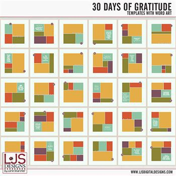 30 Days Of Gratitude With Word Art Digital Art - Digital Scrapbooking Kits