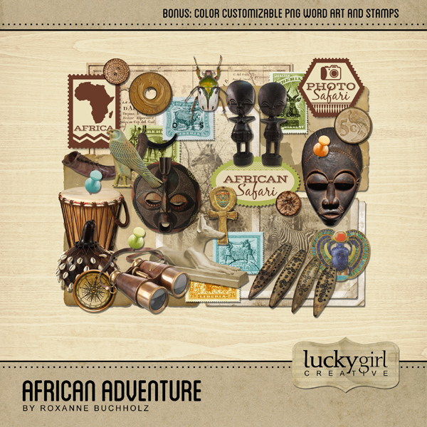 African Adventure Digital Art - Digital Scrapbooking Kits