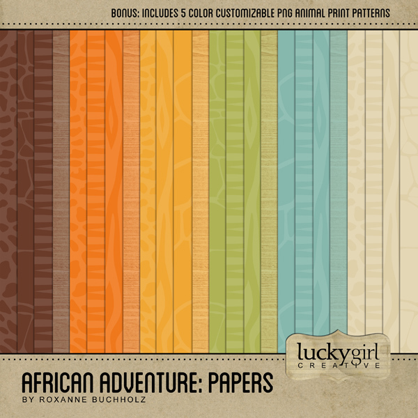 African Adventure Papers Digital Art - Digital Scrapbooking Kits