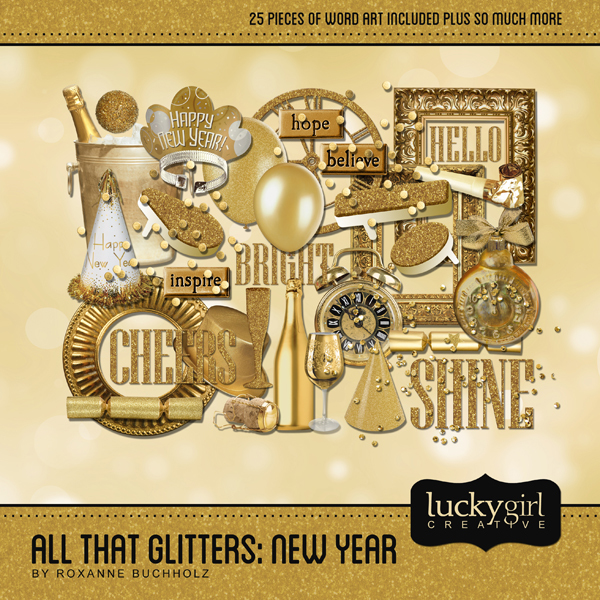 All That Glitters New Year Digital Art - Digital Scrapbooking Kits